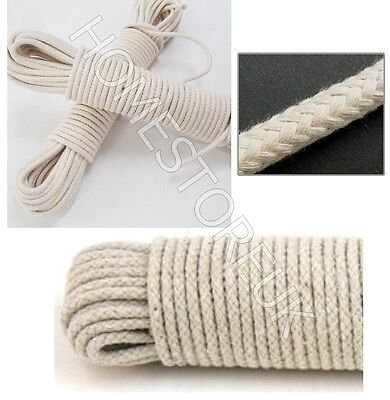 4mm 10/15/20/25/30m Cotton Rope Pulley Clothes Line Traditional Washing Camping • 6.89£