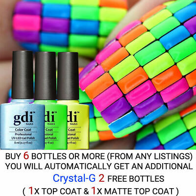 All New GDi Nails Neon Colour Range UV LED SOAK OFF VARNISH GEL NAIL POLISH  • 3.20£