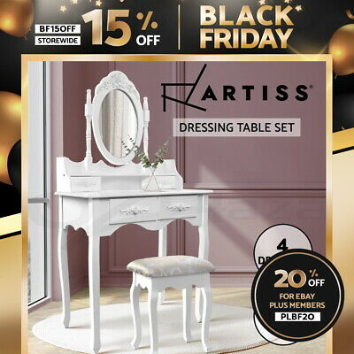 AU109.95 • Buy Artiss Dressing Table Stool Makeup Mirror Jewellery Cabinet 4 Drawers White