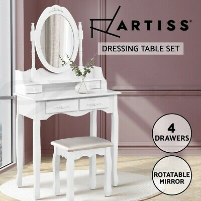 AU168.95 • Buy 【EXTRA20%OFF】Artiss Dressing Table Stool Mirror Jewellery Cabinet Drawers White