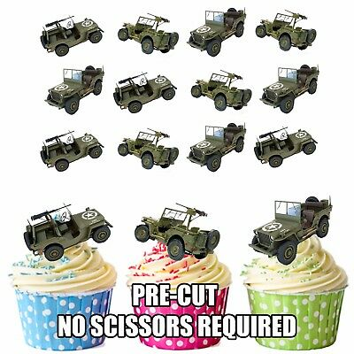 £3.49 • Buy PRECUT Army Military Jeeps 12 Edible Cupcake Toppers Cake Decorations Boys Mens