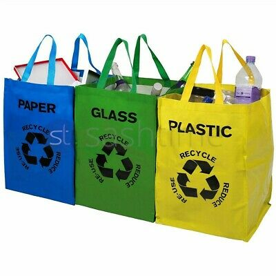 Set Of 3 Recycling Recycle Bags Colour Coded Plastic Glass Paper Storage Bin Bag • 6.95£