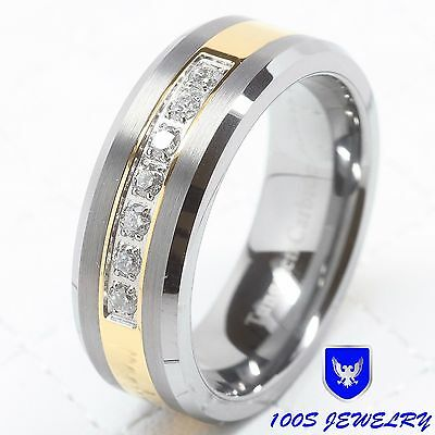 $49.99 • Buy Mens Tungsten Ring Diamond Inlay Center Brushed Wedding Band Jewelry Size 6-16