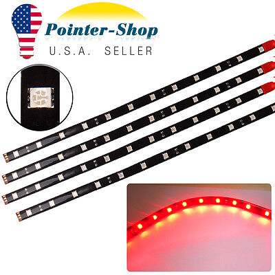 $7.05 • Buy 4x 12 /30CM 5050 Red Flexible LED Light Strip For Car Motor Boat Waterproof 12V