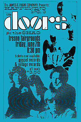 $19.20 • Buy Psychedelic:  The Doors At Fresno Fairgrounds Concert Poster 1968 LARGE 24x36