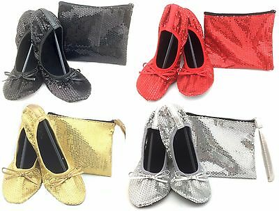 $11.99 • Buy Shoes 18 Women's Foldable Sequins Ballet Flat Shoes W/ Matching Carrying Case