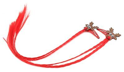 £2.99 • Buy Zest 2 Sparkly Rudolph Sleepies Hair Clips With Plaited Faux Hair Red & Brown