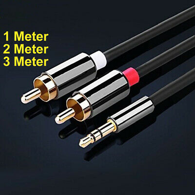 £3.99 • Buy 1m 2m 3m 3.5mm Mini Stereo Jack To 2 X RCA Twin Phono Cable Lead GOLD PC TV Aux