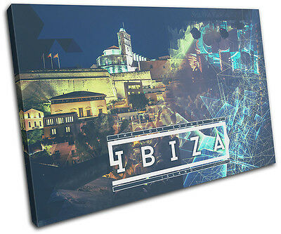 Ibiza Island Typography DJ Club SINGLE CANVAS WALL ART Picture Print • 19.99£