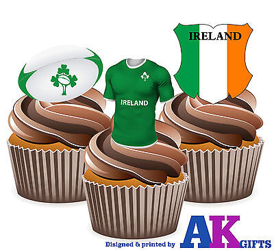 £3.49 • Buy Ireland Rugby Shirt Ball & Flag Mix 12 Edible Cup Cake Wafer Toppers Decorations
