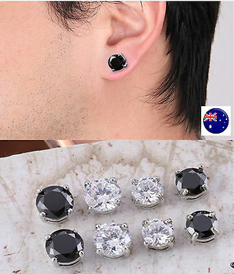 AU8.50 • Buy Fake MAGNETIC Round Crystal Rhinestone Bling NO Piercing Ear Hole Studs Earrings