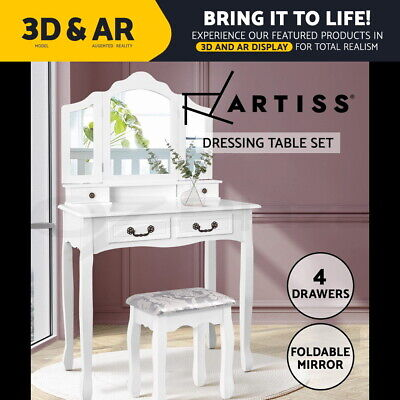 AU119.95 • Buy Artiss Dressing Table Stool Mirrors Jewellery Cabinet Drawers Tables Organizer