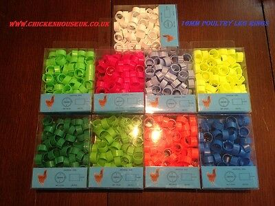 200 X 8mm REUSABLE MIXED COLOUR CLICK ON LEG RINGS SMALL POULTRY CHICKS DUCKLING • 10.90£