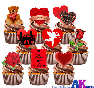 Valentines Day Love Party Pack - 36 Edible Stand Up Cup Cake Toppers Hearts Rose • 5.25£