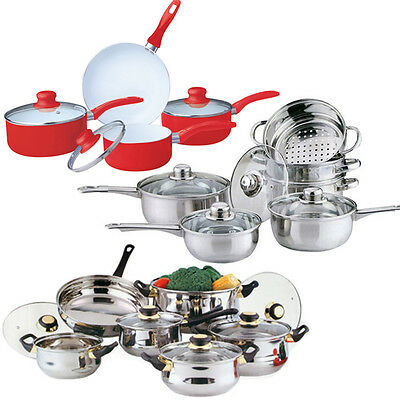 Cookware Set Saucepan Frying Pan Pot Stainless Steel Non Stick Glass Ceramic New • 24.99£