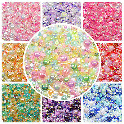THEMED MIX Iridescent AB Pearl Diamantes Rhinestones Embellishment Decoden Craft • 2.49£