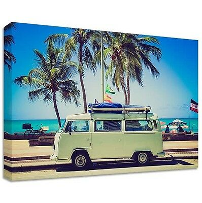 £49.99 • Buy VW Camper Van Canvas | LARGE WALL ART | Volkswagen Beach Holiday Chill Chilled