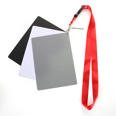 3in1 Digital White Balance 18% Grey Color Card Large Photography Exposure Strap • 5.21£
