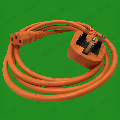 2m Orange Mains Power Cable Kettle Lead Cord 5A UK 3 Pin Plug To IEC C13 Socket • 2.49£