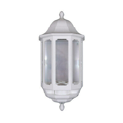 Half Lantern Wall Light Fititng - Outside Lantern - Clear Glass Segments - White • 17.39£