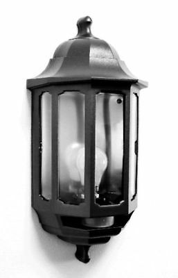 Half Lantern Wall Light With PIR Motion Movement Detector Black Outdoor Fitting • 29.37£