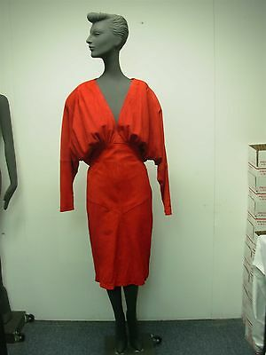 693f0cb28f VTG 1980s MICHAEL HOBAN NORTH BEACH LEATHER RED SUEDE DRESS WOPEN CAPE BACK  SZ S •