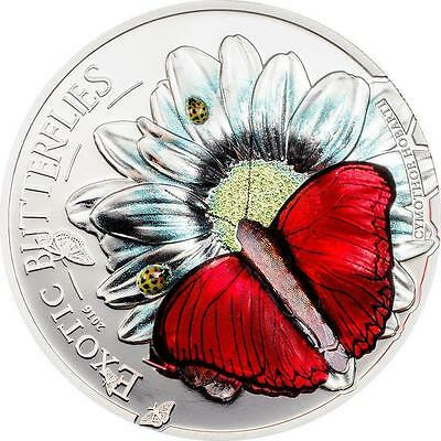 Tanzania 2016 1000 Schillings Exotic Butterflies 3D Proof Silver Coin LIMITED • 99$