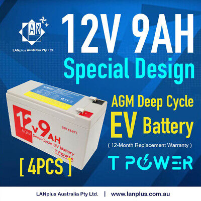 AU115 • Buy 4X Replacement Battery 12V 9AH AGM Deep Cycle EV Battery 4 Electric Bike Scooter