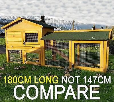 Large Rabbit Hutch Guinea Pig Hutches Run 2 Tier Double Decker Cage Natural • 128.99£