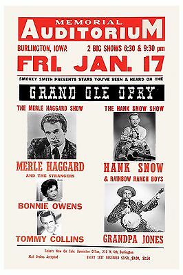 $12 • Buy Country Great: Merle Haggard & Hank Snow & More Concert Poster