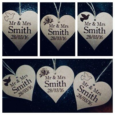 PERSONALISED WEDDING TAGS , WEDDING FAVOURS  Wooden Heart With String  • 1.99£