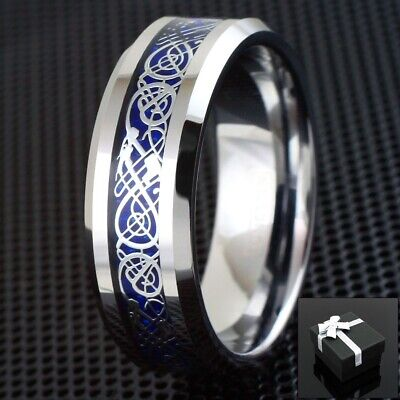 $13.99 • Buy 8mm Silvering Blue Celtic Dragon Tungsten Ring Mens Jewelry Wedding Band