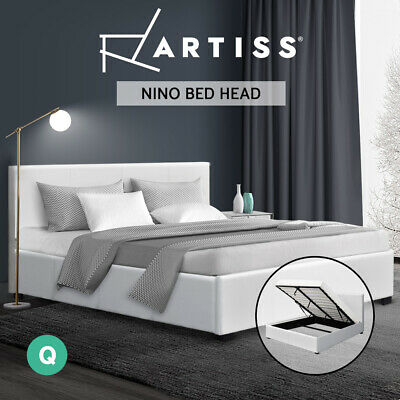 AU299 • Buy Artiss Bed Frame Queen Size Gas Lift Base With Storage  Leather Wooden