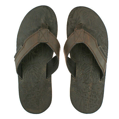 Mens Urban Beach Thar Brown Leather Toe Post Flip Flop Beach Sandals • 19.95£