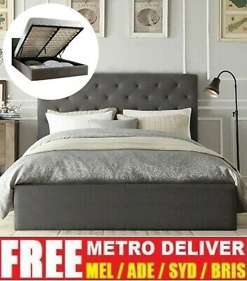 AU325 • Buy Chester Gas Lift Double Queen King Size Grey Charcoal Biege Fabric Bed Frame