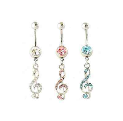 Musical Note, Clef Dangle Drop Belly Navel Bar, New In Gift Bag Body Piercing • 2.49£