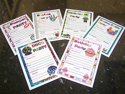 Kids Themed Birthday Invites Party Invitations Bowling Bouncy Castle Army Pamper • 2.19£