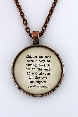 THINGS WE LOSE Harry Potter JK Rowling Luna Lovegood Quote Pendant Necklace • 12.91£