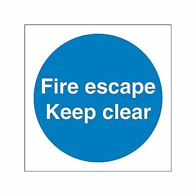 Castle Promotions Fire Escape Keep Clear Sign - Adhesive Vinyl - 100mm X 100mm • 4.97£