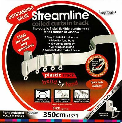 £15.99 • Buy 3.5 Mtr (137 ) Bendable Straight & Bay Window Coiled Curtain Track Rail PVC