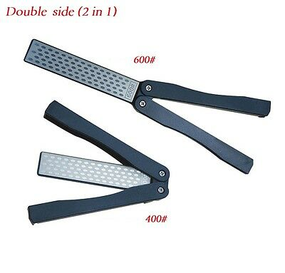 $6.37 • Buy New KNIFE SHARPENER Double Side Diamond Plate Titanium And Diamond 2 Course Tool