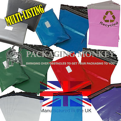 STRONG MAILING POSTAL BAGS - GREY BLUE GREEN RED PINK PURPLE *55mu CO-EX RANGE* • 2.49£