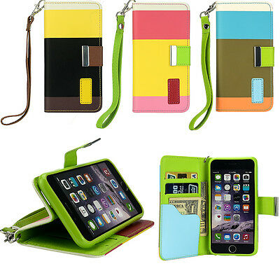 Multi Colour Wallet Flip Stand Cover For IPhone 6/6S Faux Leather Folio Case • 1.89£