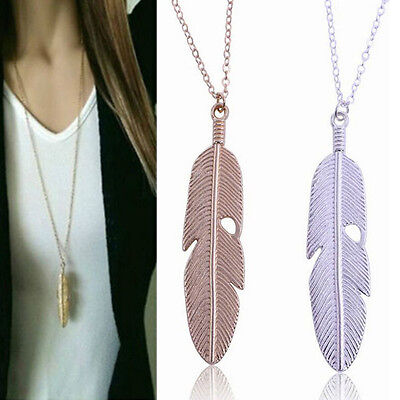 $0.76 • Buy Women Feather Pendant Long Chain Necklace Sweater Statement Vintage Jewelry New
