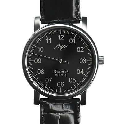 $ CDN59.42 • Buy One Hand Luch Mechanical Wristwatch Men's Leather Vintage Black 37471763 RUS
