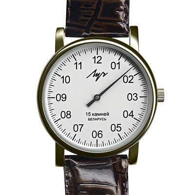 £34.69 • Buy One Hand Luch Mechanical Wristwatch Men's Leather Vintage White 337477760 RUS