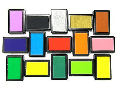 Large Rubber Stamps Craft Pigment Ink Pad For Paper Wood Fabric 15 Colours • 1.79£
