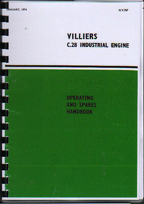 Villiers  C.28'' Industrial Stationary Engine Operating Parts Manual Book • 7.80£