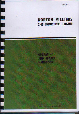 Norton Villiers  C.45'' Industrial Stationary Engine Operating Parts Manual Book • 7.80£