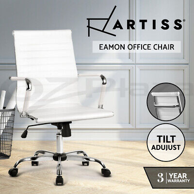 AU169 • Buy Artiss Eames Replica Office Chair Leather Executive Computer Desk Chairs White